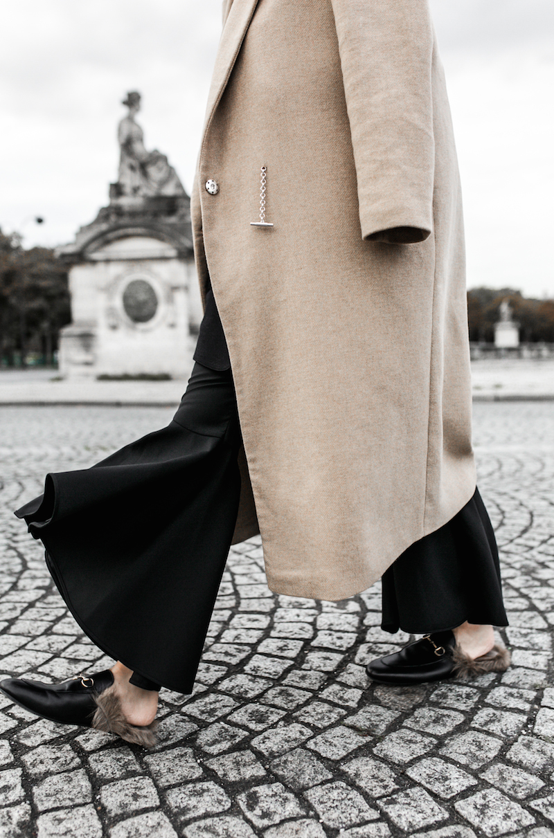 paris street style camel coat ellery flares gucci princetown fur loafers fashion blogger modern legacy (1 of 1)