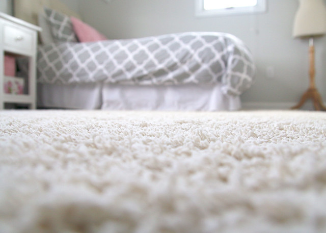 Tween Bedroom Cream Shag Carpet