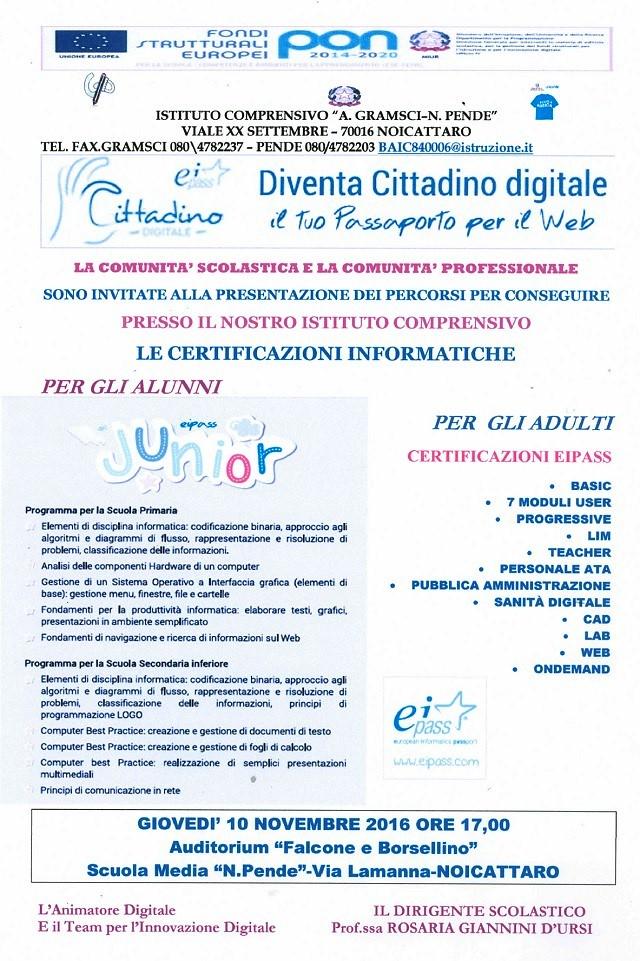 Noicattaro. Certificazioni informatiche Pende intero