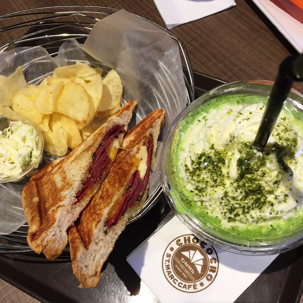 beef pastrami sandwich and matcha milkshake