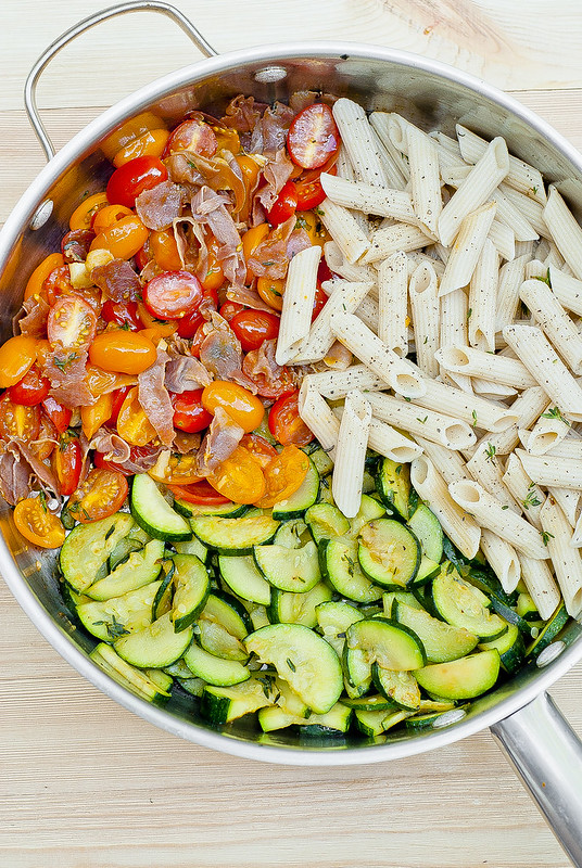 Creamy Prosciutto Pasta with Zucchini and Grape Tomatoes