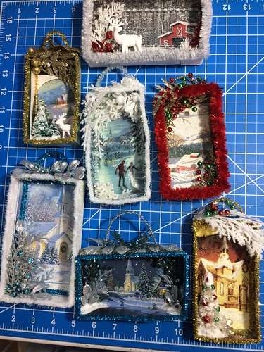 Christmas card shadow boxes