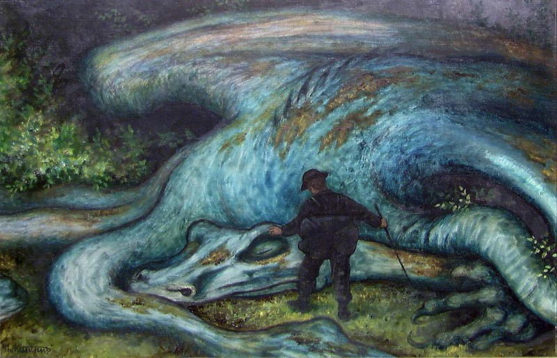 Theodor Kittelsen - The Ash Lad and the Dragon, 1900