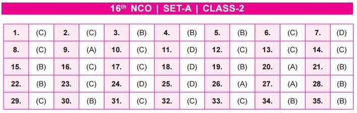 NCO Answer Key Set A class 2