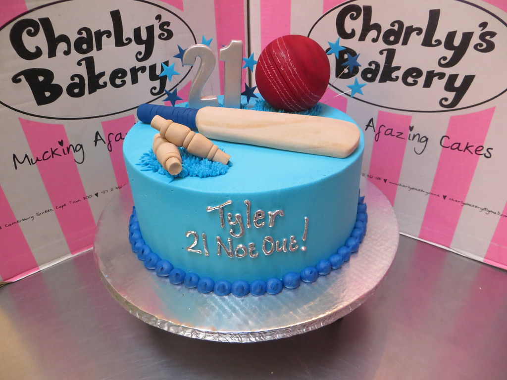 Cricket Themed 21st Birthday Cake With 3D Bat Ball And Wickets
