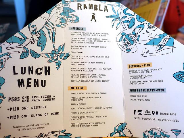 Rambla Rockwell Lunch Menu