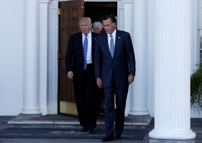 U.S. President-elect Donald Trump and former Massachusetts Governor Mitt Romney emerge after their meeting at the main clubhouse at Trump National Golf Club in Bedminster