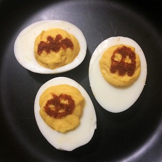 We left it too late and didn't get to make a jack-o-lantern. Hopefully these devilish eggs are spooky enough to scare off the Halloween spirits. | by Steve Rolston