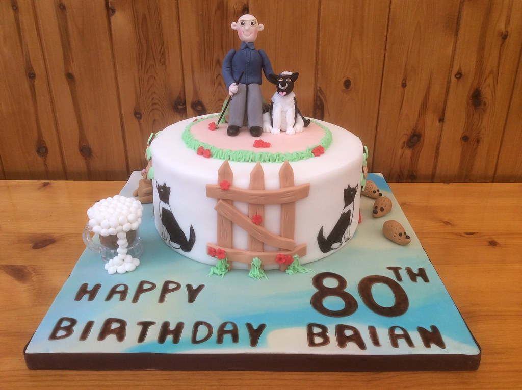 Man Dog 80th Birthday Cake