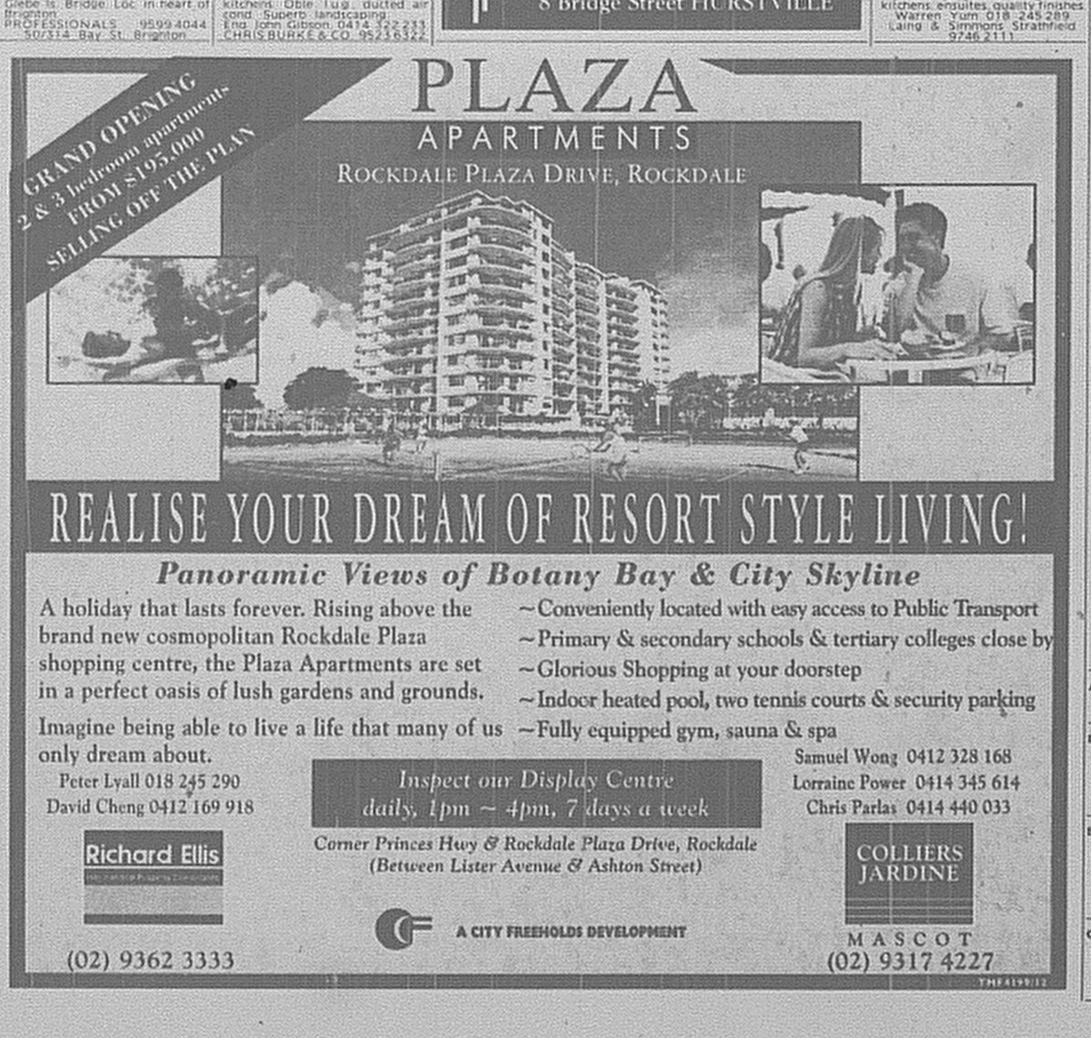 Plaza Apartments Rockdale Ad May 24 1997 SMH 27RE