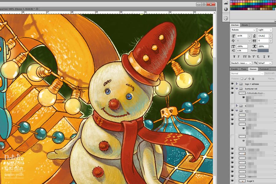 Christmas Card, work in progress