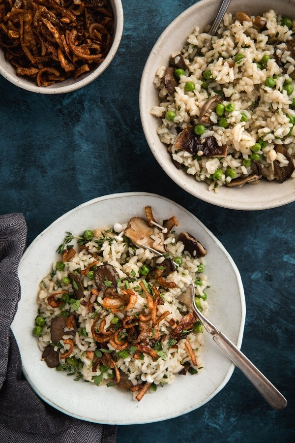 Bone Broth Risotto with Mushrooms & Crispy Shallots