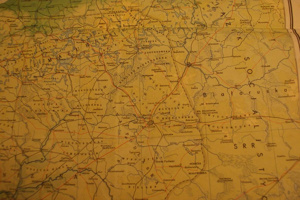 Carte de la Pologne orientale et d'un bout de la Biélorussie.