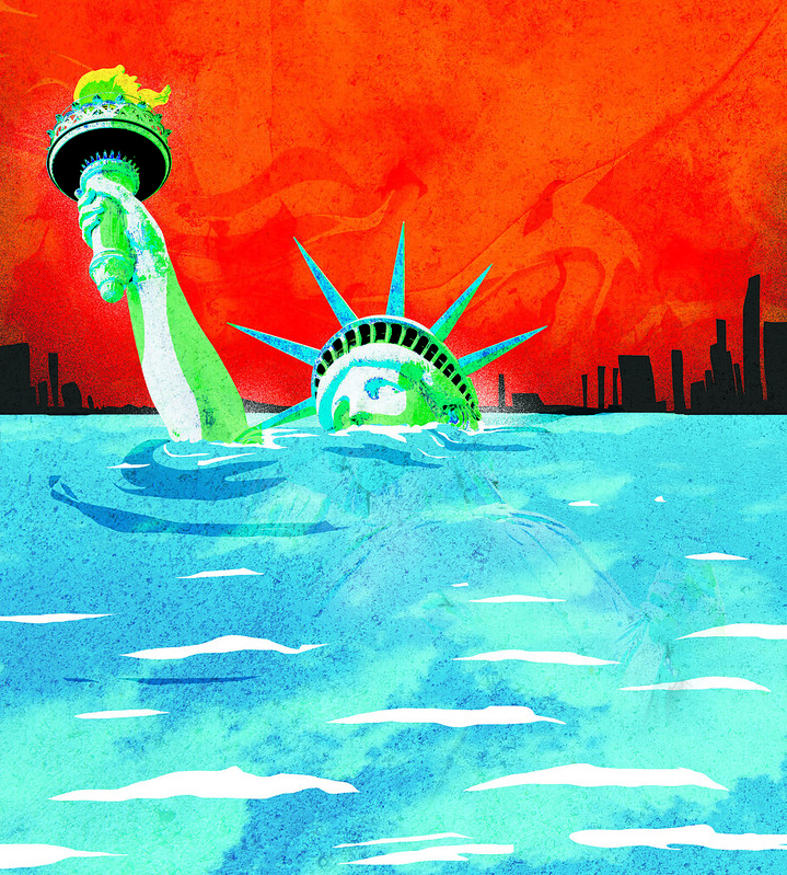 artwork depicting the statue of liberty drowning