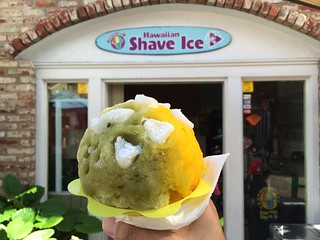 Green tea/mange shave ice with mochi and azuki beans | by ivaninflickr
