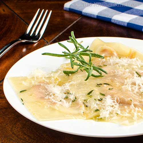 Pumpkin Ravioli with Herbal Butter Sauce