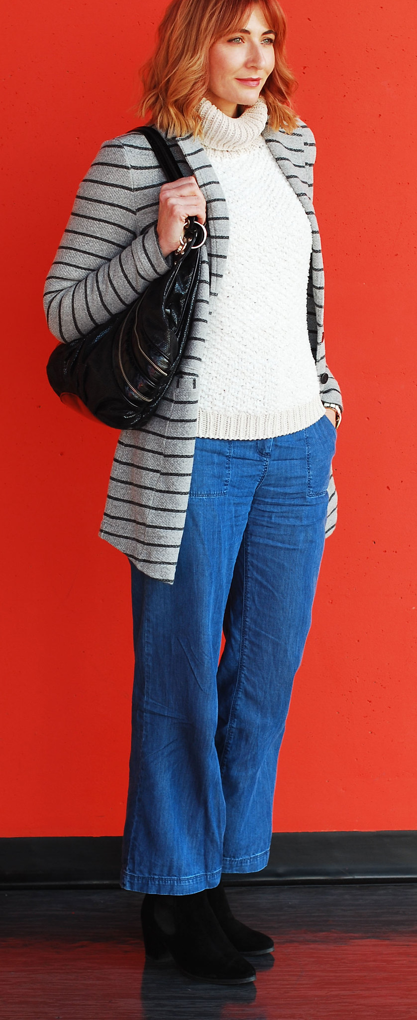 Autumn look \ fall outfit \ cold weather style \ stripe coatigan denim wide leg trousers, chunky roll neck sweater | Not Dressed As Lamb, over 40 style