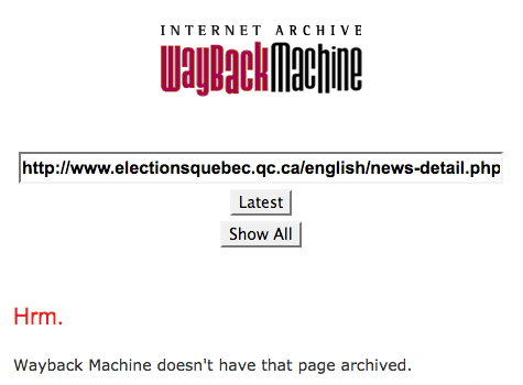 Elections Quebec - Press Release 1 - Internet Archive does not have