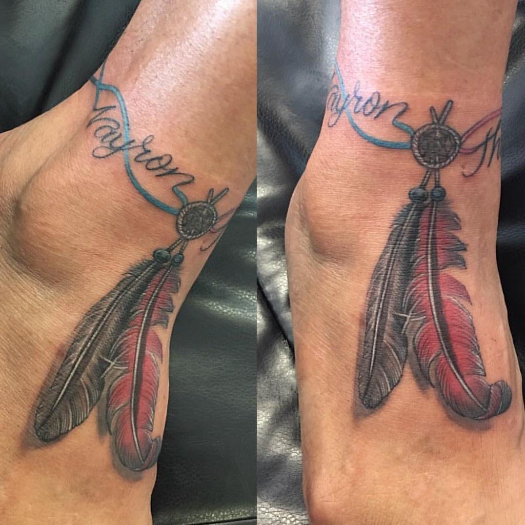 Feathers Tattoo Ankle Bracelet Ankletattoo Anklebracelet Flickr