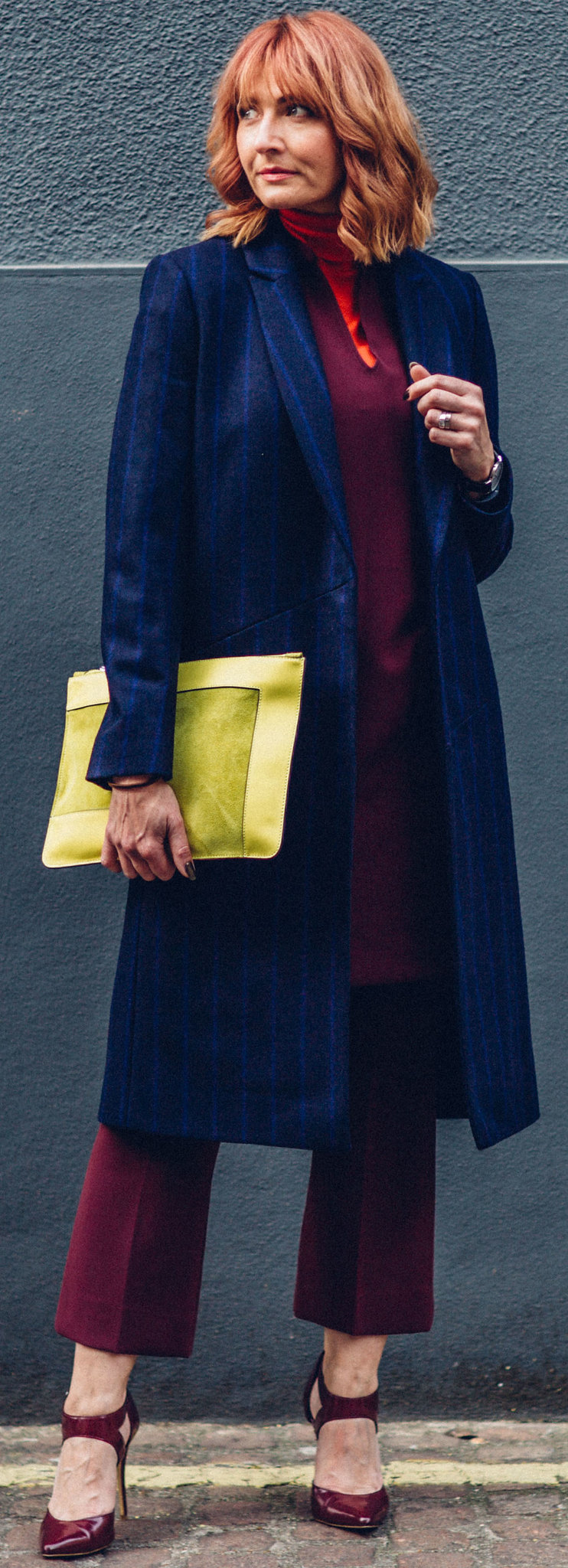 Bold jewel colours \ Autumn look \ fall outfit \ smart winter wear \ layering \ Jaeger \ Longline pinstripe coat, red roll neck, burgundy cocoon dress and cropped flares, yeloo suede clutch | Not Dressed As Lamb, over 40 style