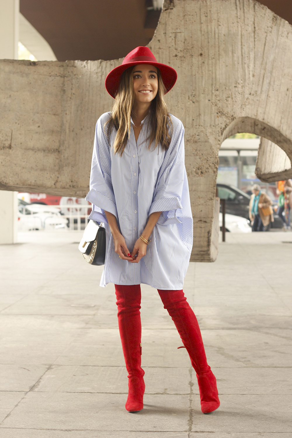 striped dress red over the knee boots red hat accessories fashion outfit style autumn04