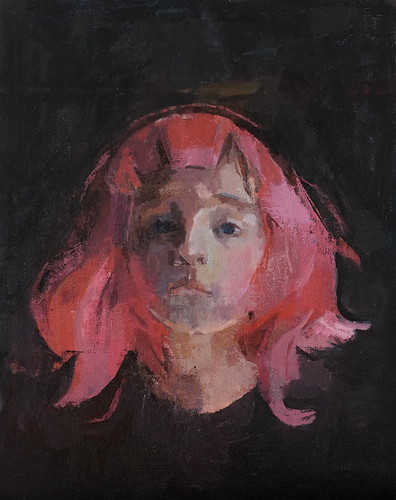 Pink Wig, 2015 oil canvas board 11x14 | by amy huddleston