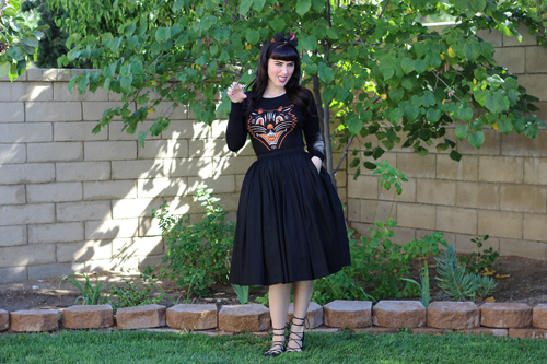 Lucy Fur Sweater by Sourpuss Pinup Girl Clothing Pinup Couture Jenny Skirt in Black Sateen