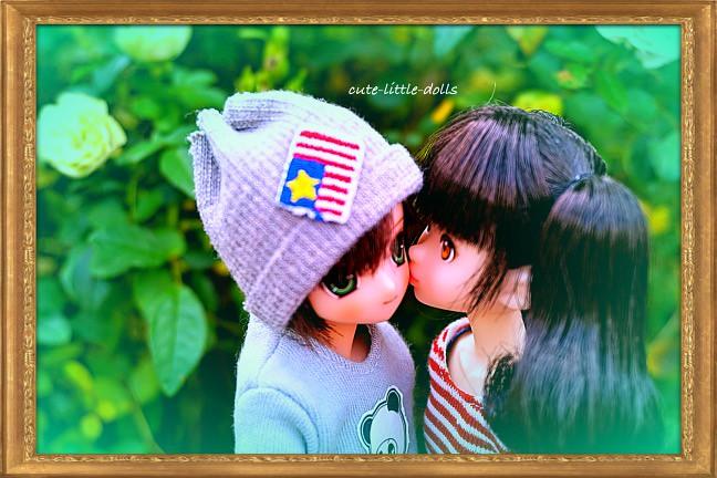 cute couple first kiss