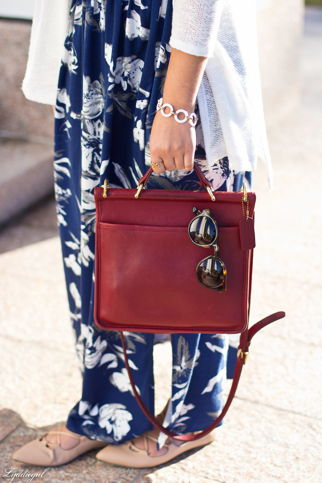 blue and white floral maxi dress, red coach bag, white cardigan-7.jpg