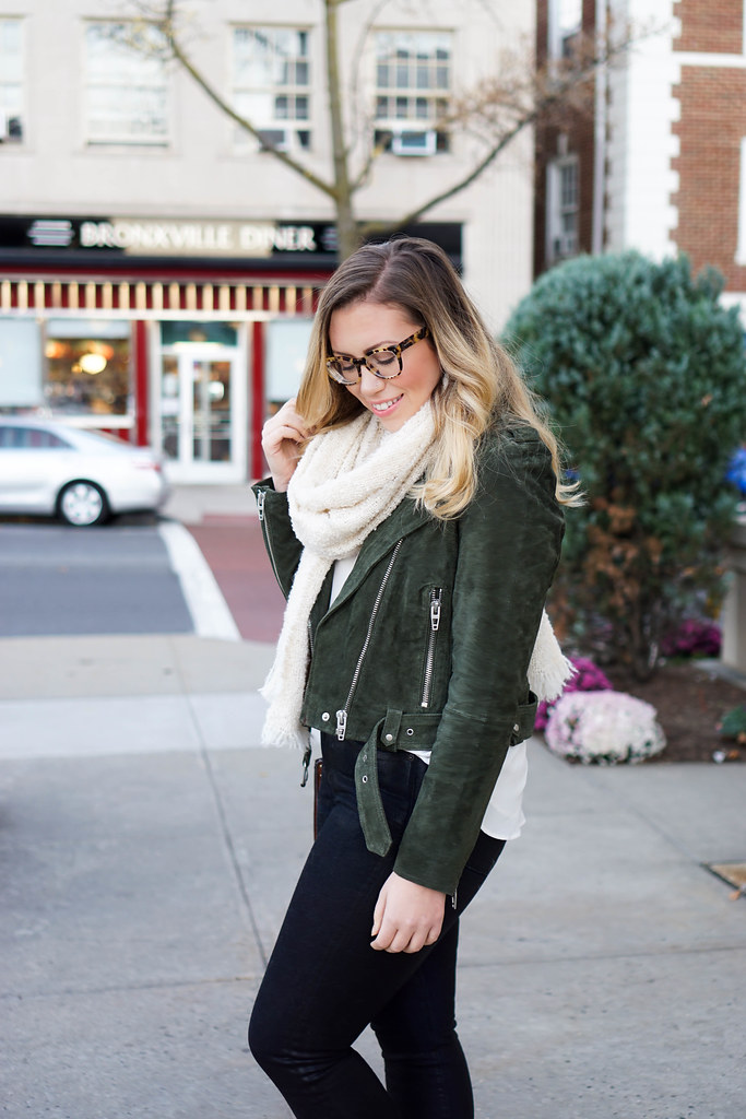 Blank NYC Green Suede Moto Jacket Lace Up Leopard Flats Prada Tortoise Glasses Casual Fall Outfit