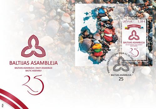 """Aploksne ar pastmarkas bloku un pirmās dienas zīmogu """"Baltijas Asamblejai - 25"""""""