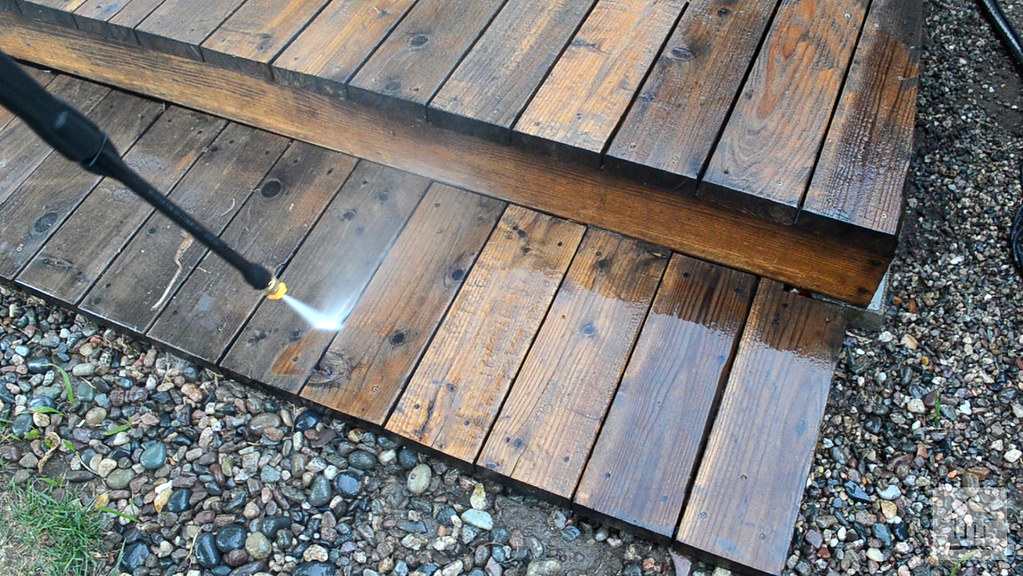 ... Cleaning Wooden Deck Stairs With Pressure Washer | By Yourbestdigs