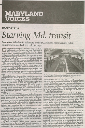 "Baltimore Sun editorial, 10/17/2016, ""Starving Maryland Transit"""