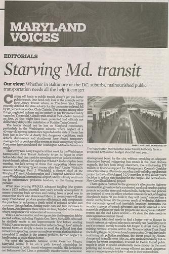 """Baltimore Sun editorial, 10/17/2016, """"Starving Maryland Transit"""""""