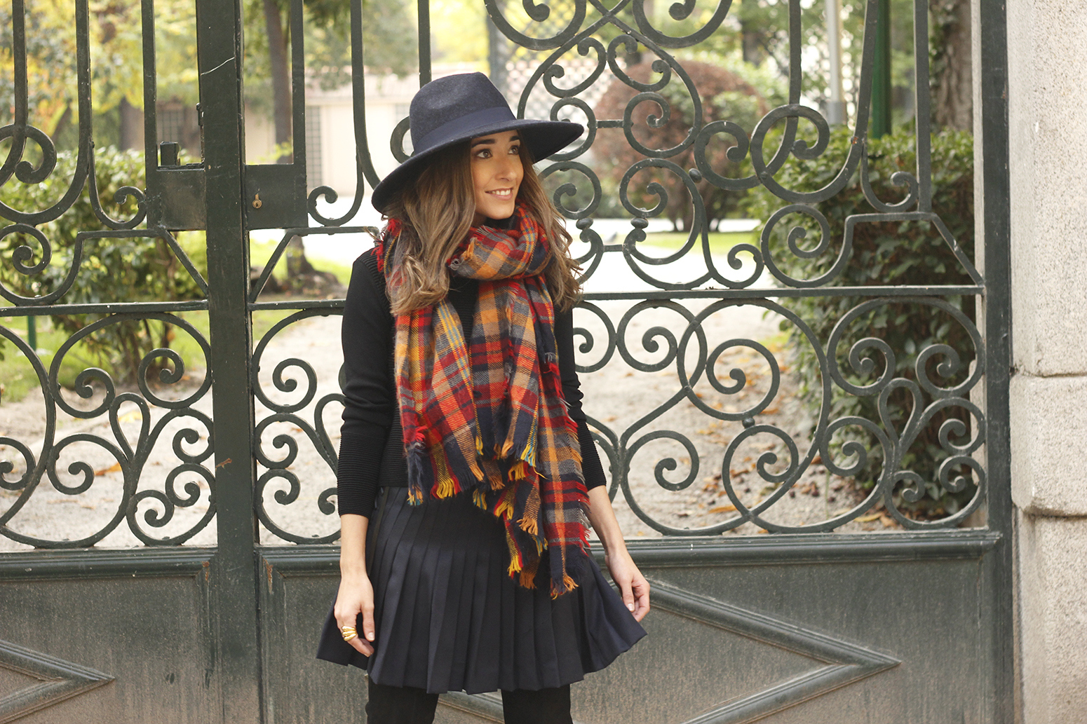blue pleated skirt with over the knee boots blue hat black jersey outfit style 16