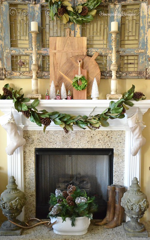 A Southern Christmas Mantel Of Magnolia Leaves