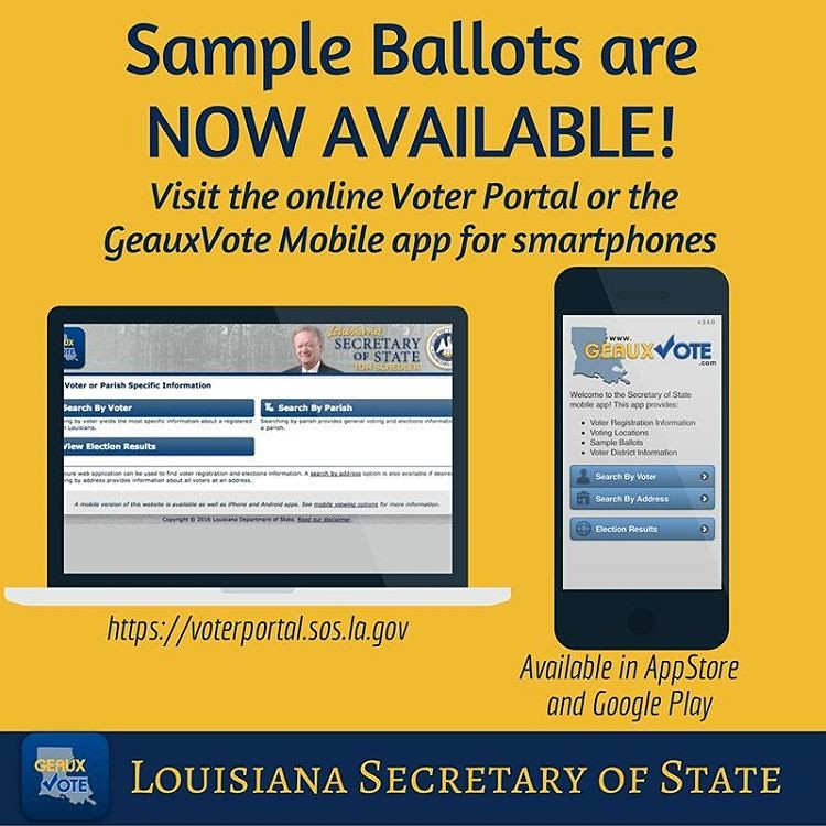 Sample #ballots are now available via #GeauxVoteMobile and… | Flickr