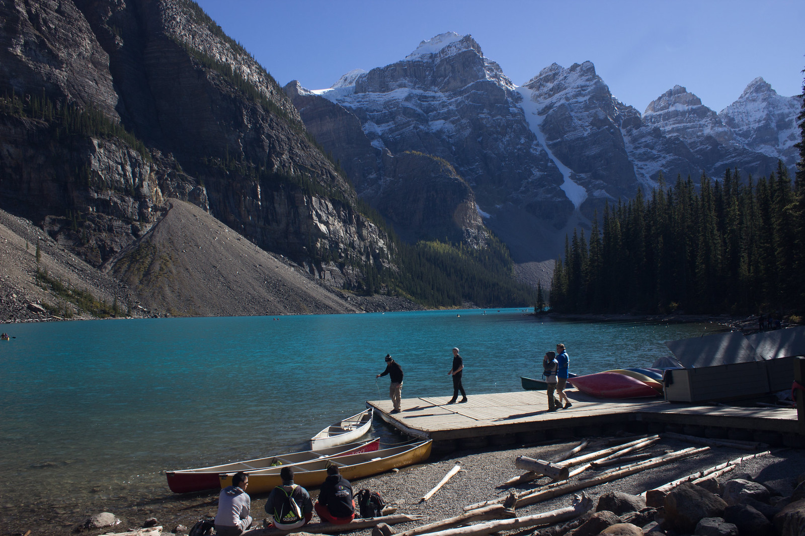 Kayaks at Moraine Lake, Alberta