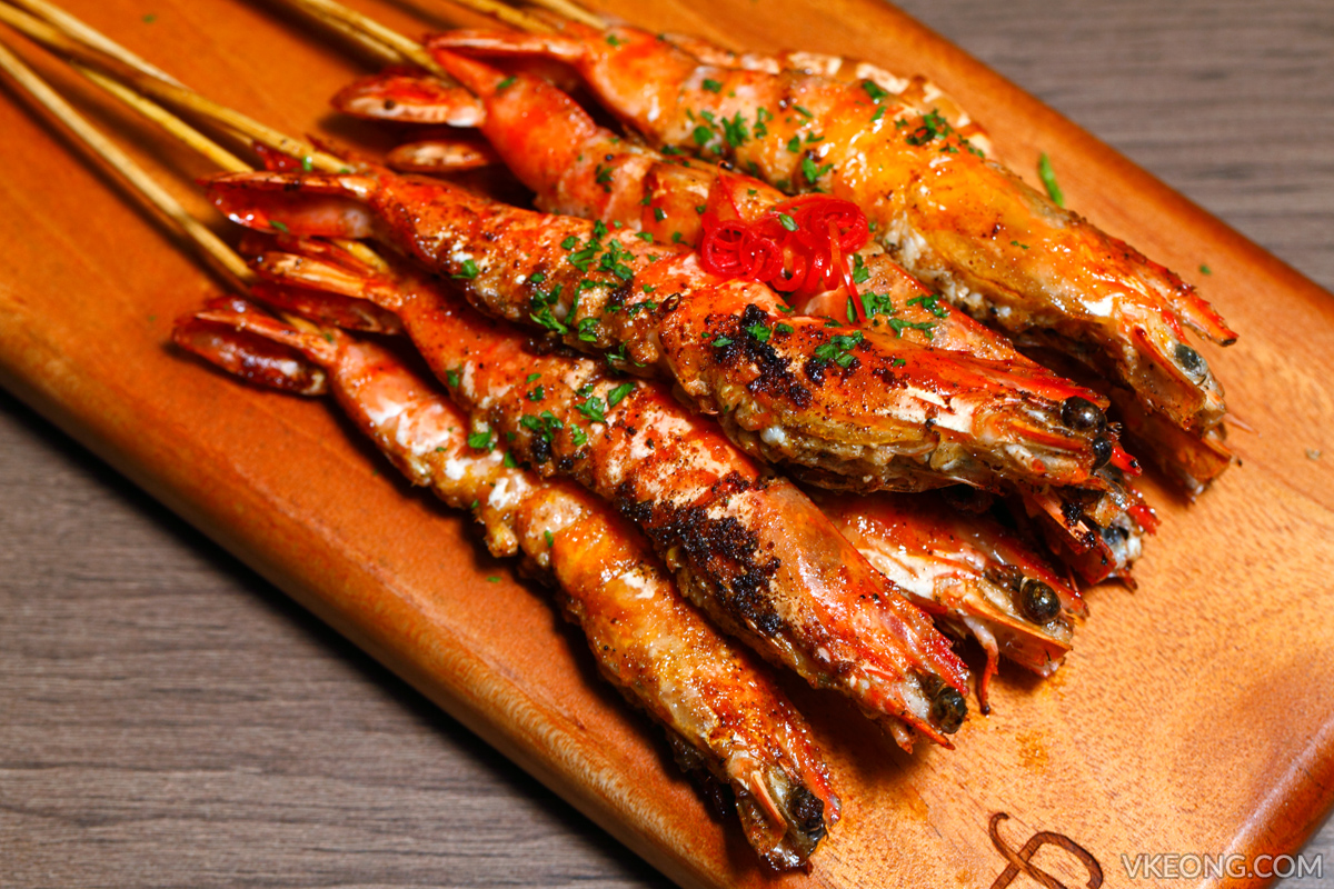 Gold Bar BBQ Skewered Prawns