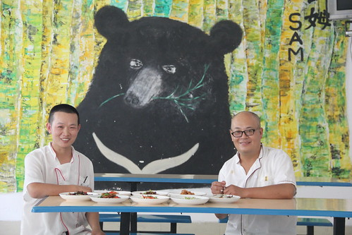 Chef Wang (right) from Vegan Lifestyle restaurant, Chengdu at CBRC