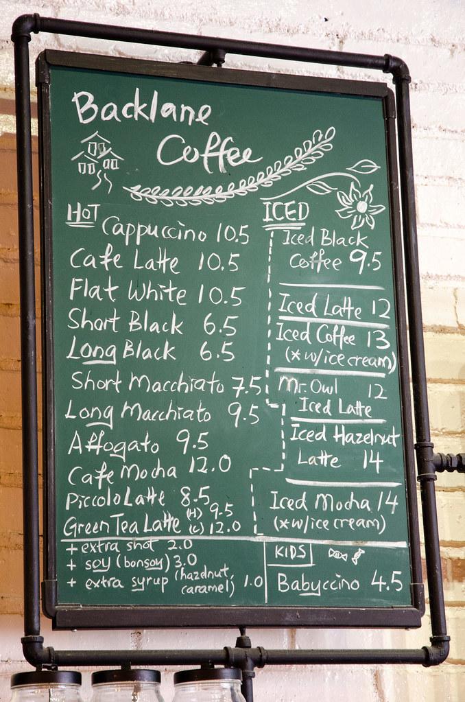 Backlane Coffee Melaka's coffee choices