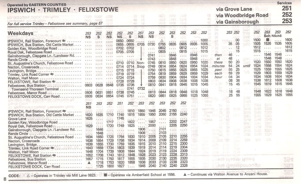 June 1983 Eastern Counties Route  Timetable Ipswich Felixstowe By