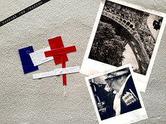 Due to current events: Education in France. Photo collage of two photos, the Eiffel Tower and an old lady, and the national colours of the French flag. Licence: by-nc-nd 2.0 Creative Commons Licence: Attribution + Noncommercial + NoDerivatives