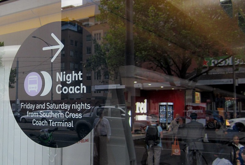 Southern Cross Station - Night Coaches sign