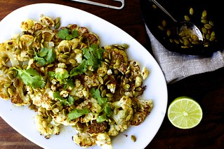 roasted cauliflower with pumpkin seeds, brown butter and lime   by ...