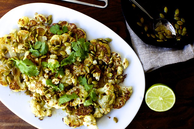 roasted cauliflower with pumpkin seeds, brown butter and lime