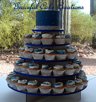 Elegant Royal Blue And Silver Cupcake Wedding Cake Flickr