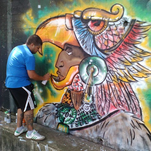 Mauricio guerrero mexica mural unidad deportiva mirafl for Arte colectivo mural