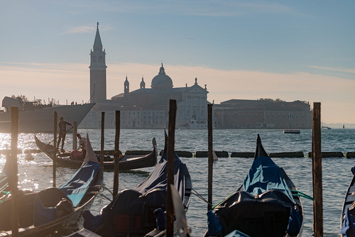 Sunrising in venice over the gondolas