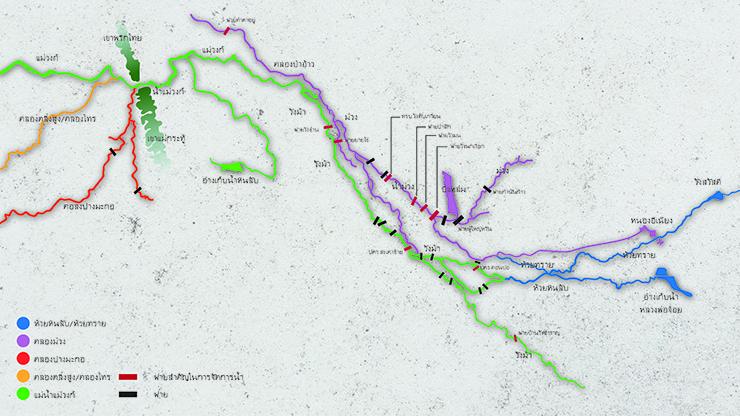 เส้นทางน้ำที่มีอิทธิพลต่อน้ำท่วมอำเภอลาดยาว